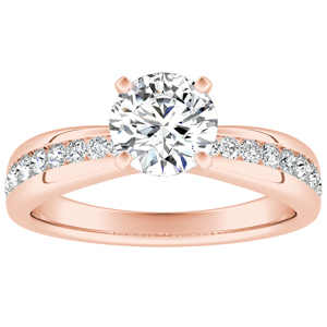 AUBREE Classic Diamond Engagement Ring In 14K Rose Gold With GIA Certified 0.50 Carat Round Diamond
