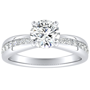 AUBREE Classic Moissanite Engagement Ring In 14K White Gold With 0.50 Carat Round Stone