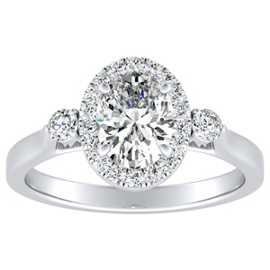 CLARA Halo Diamond Engagement Ring In 14K White Gold With 0.50ct. Oval Diamond