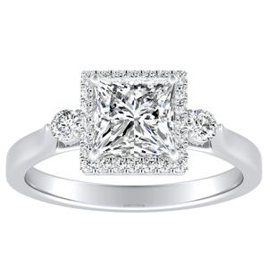 CLARA Halo Diamond Engagement Ring In 14K White Gold