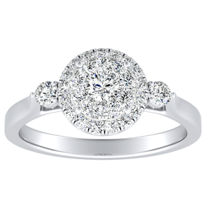CLARA Halo Diamond Engagement Ring In 14K White Gold With Round Diamond In H-I SI1-SI2 Quality