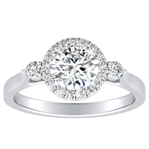 CLARA Halo Diamond Engagement Ring In 14K White Gold With 0.50ct. Round Diamond