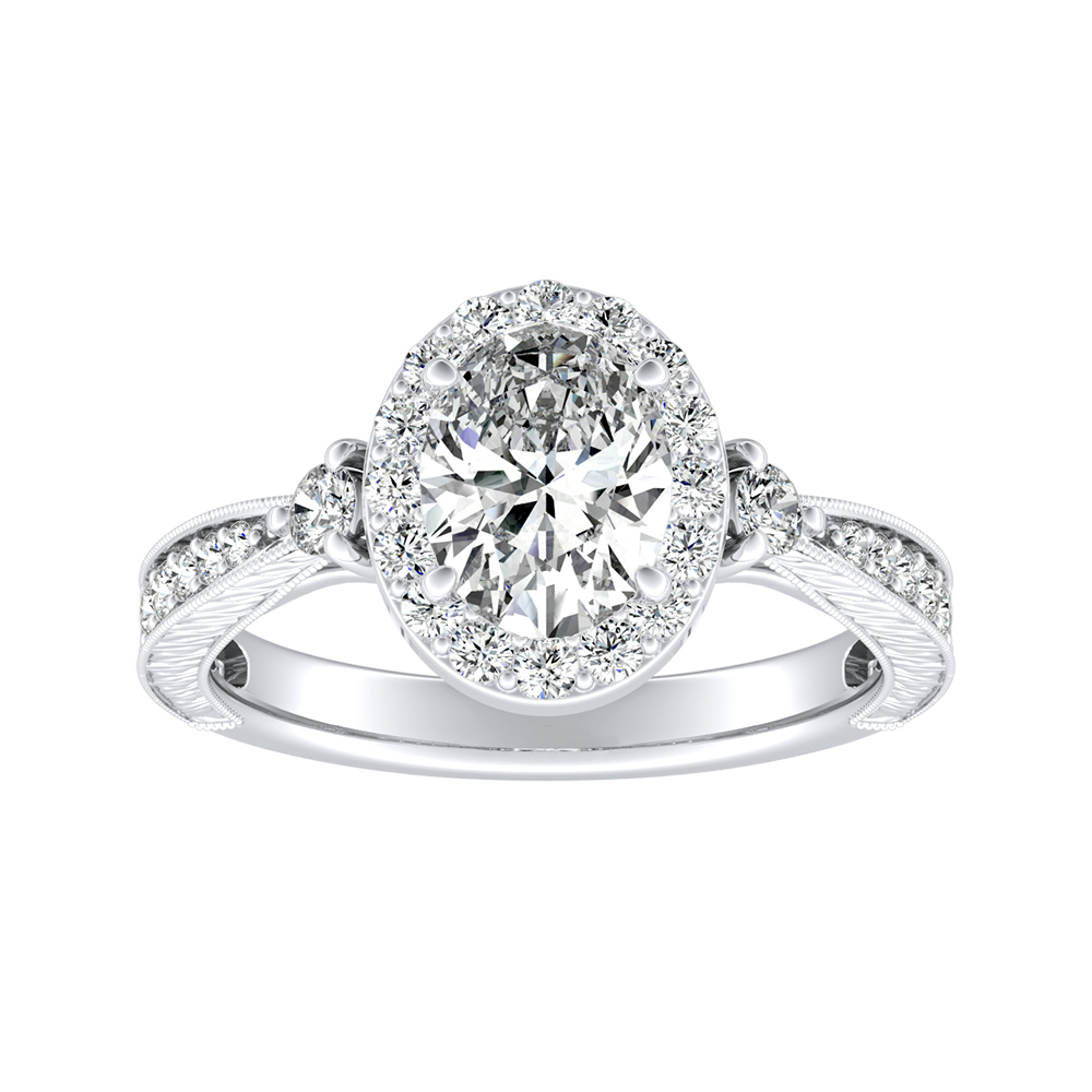 SARAH Halo Diamond Engagement Ring In 14K White Gold