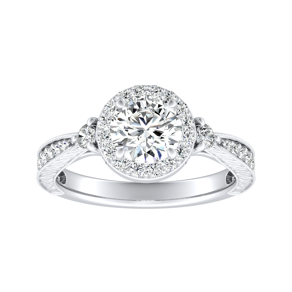 SARAH Halo Moissanite Engagement Ring In 14K White Gold With 0.50 Carat Round Stone
