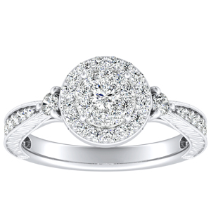 SARAH Halo Diamond Engagement Ring In 14K White Gold With Round Diamond In H-I SI1-SI2 Quality