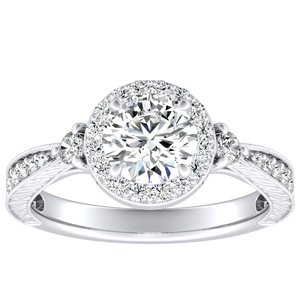 SARAH Halo Diamond Engagement Ring In 14K White Gold