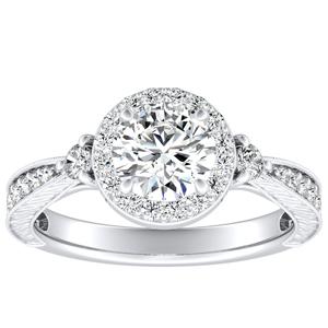 SARAH Halo Diamond Engagement Ring In 14K White Gold With 0.50ct. Round Diamond