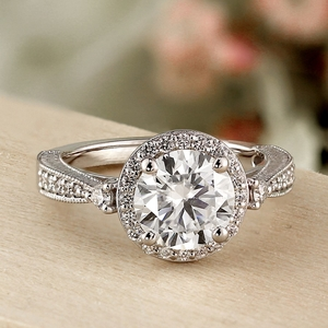 SARAH Halo Diamond Engagement Ring In 14K White Gold With 0.50ct. Round Diamond