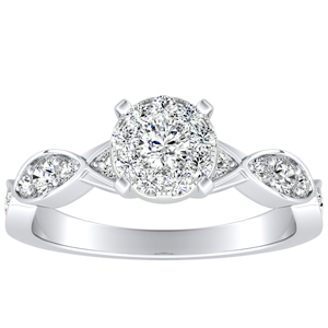 CORA Diamond Engagement Ring In 14K White Gold With Round Diamond In H-I SI1-SI2 Quality