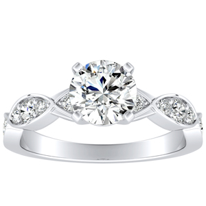 CORA Moissanite Engagement Ring In 14K White Gold With 0.50 Carat Round Stone