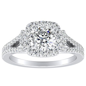 KAYLEE Halo Diamond Engagement Ring In 14K White Gold