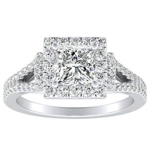 KAYLEE Halo Diamond Engagement Ring In 14K White Gold