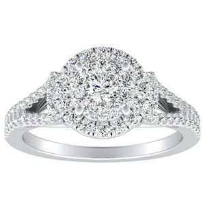 KAYLEE Halo Diamond Engagement Ring In 14K White Gold With Round Diamond In H-I SI1-SI2 Quality