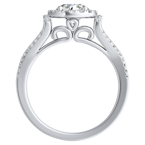KAYLEE Halo Diamond Engagement Ring In 14K White Gold With 0.50ct. Round Diamond
