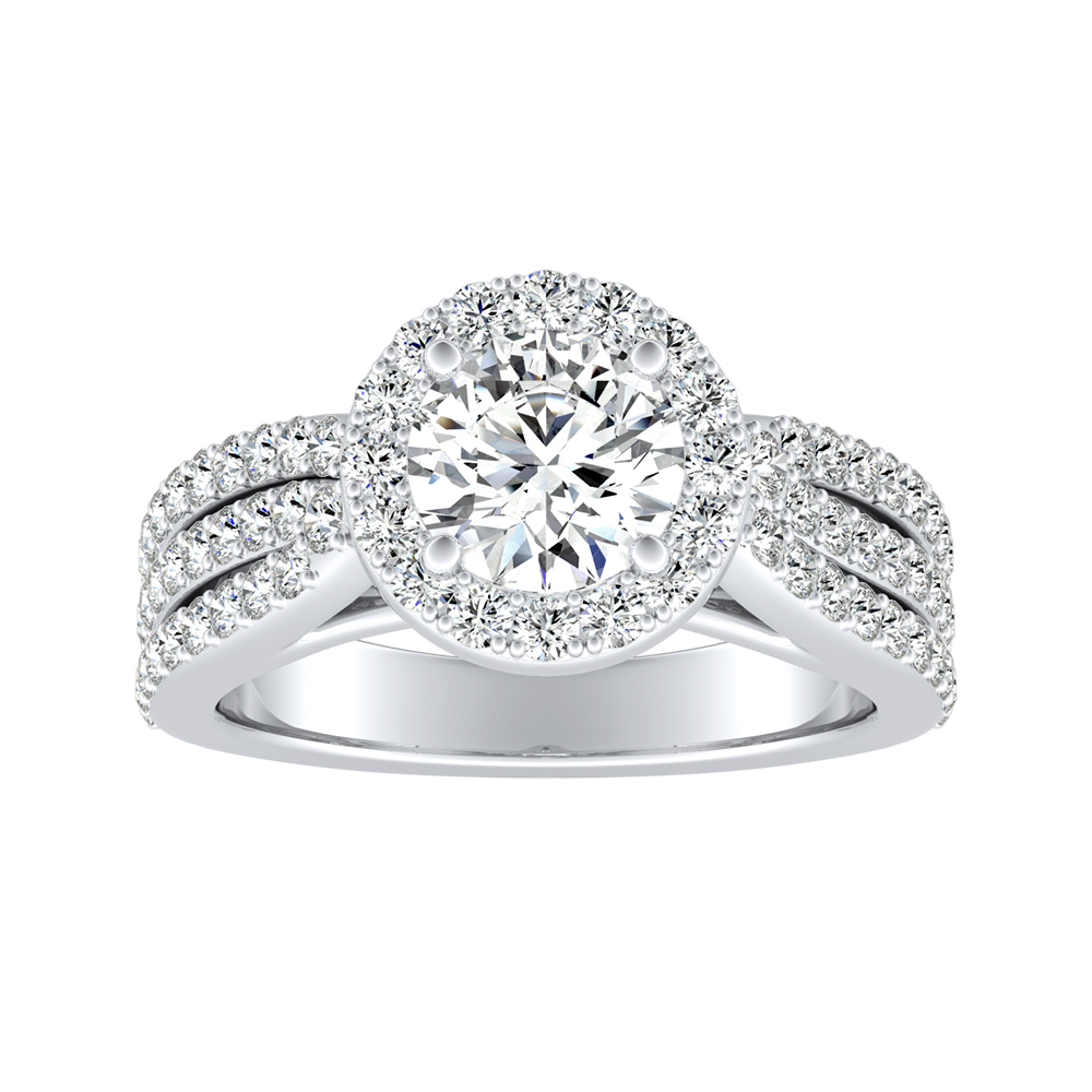 ELENA Halo Diamond Engagement Ring In 14K White Gold
