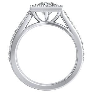 ELENA Halo Diamond Engagement Ring In 14K White Gold