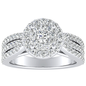 ELENA Halo Diamond Engagement Ring In 14K White Gold With Round Diamond In H-I SI1-SI2 Quality