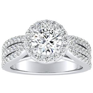 ELENA Halo Moissanite Engagement Ring In 14K White Gold With 0.50 Carat Round Stone