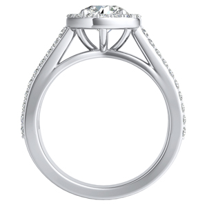 ELENA Halo Diamond Engagement Ring In 14K White Gold With 0.50ct. Round Diamond