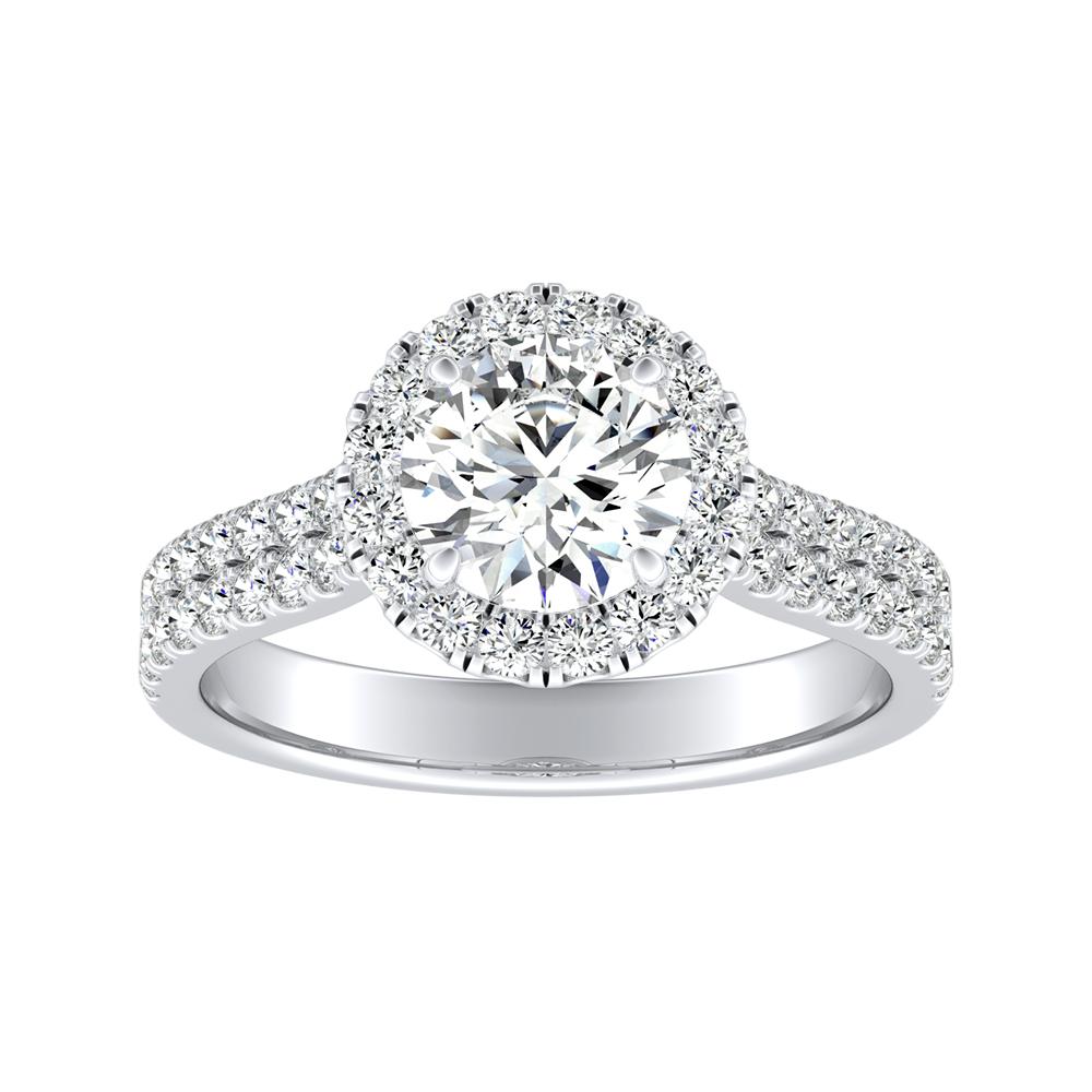 AURORA Halo Diamond Engagement Ring In 14K White Gold