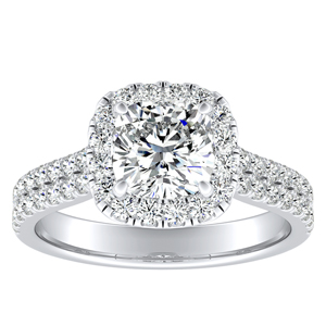 AURORA Halo Diamond Engagement Ring In 14K White Gold