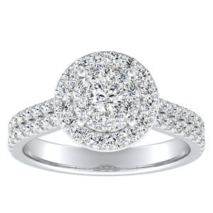 AURORA Halo Diamond Engagement Ring In 14K White Gold With Round Diamond In {quality) Quality