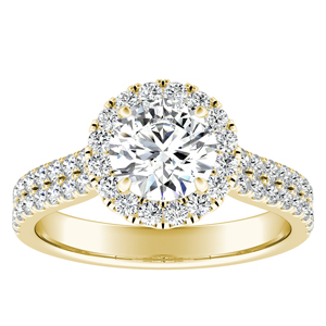 AURORA Halo Diamond Engagement Ring In 14K Yellow Gold