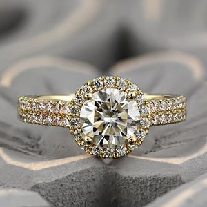 AURORA Halo Diamond Engagement Ring In 14K White Gold With 0.50ct. Round Diamond