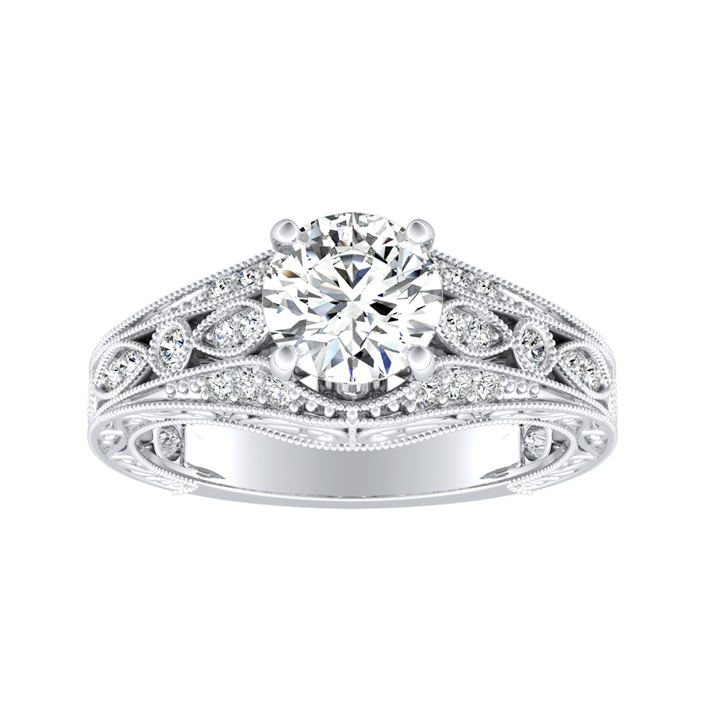 ALEXANDRA Vintage Diamond Engagement Ring In 14K White Gold
