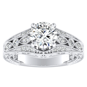 ALEXANDRA Vintage Moissanite Engagement Ring In 14K White Gold With 0.50 Carat Round Stone