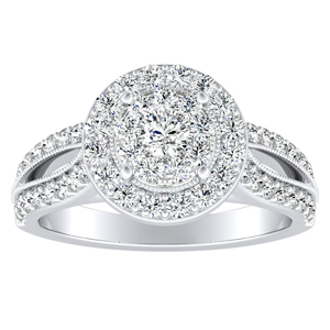 GIANNA Halo Diamond Engagement Ring In 14K White Gold With Round Diamond In H-I SI1-SI2 Quality