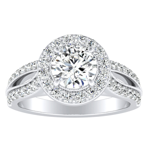 GIANNA Halo Diamond Engagement Ring In 14K White Gold With 0.50ct. Round Diamond