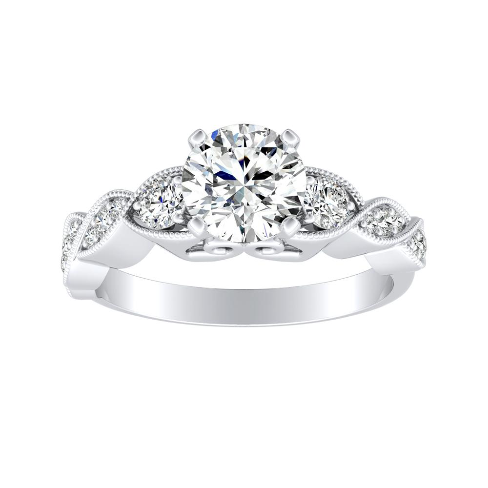 VALERIA Vintage Diamond Engagement Ring In 14K White Gold