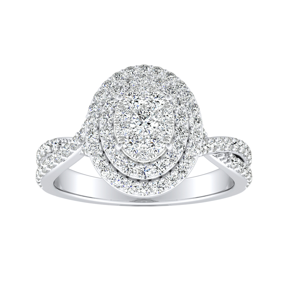 KINSLEY Double Halo Diamond Engagement Ring In 14K White Gold With Oval Diamond In H-I SI1-SI2 Quality