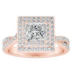 KINSLEY Double Halo Diamond Engagement Ring In 14K Rose Gold