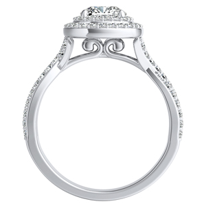 KINSLEY Double Halo Diamond Engagement Ring In 14K White Gold