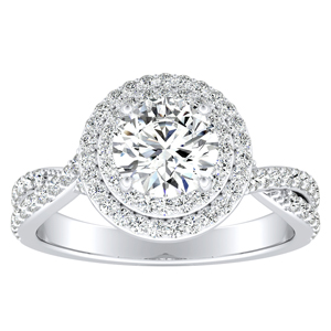 KINSLEY Double Halo Diamond Engagement Ring In 14K White Gold With 0.50ct. Round Diamond