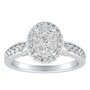 MARIA Halo Diamond Engagement Ring In 14K White Gold With Oval Diamond In H-I SI1-SI2 Quality