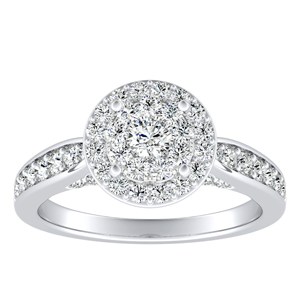 MARIA Halo Diamond Engagement Ring In 14K White Gold With Round Diamond In H-I SI1-SI2 Quality