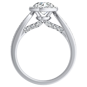 MARIA Halo Diamond Engagement Ring In 14K White Gold With 0.50ct. Round Diamond