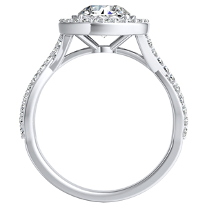 EVA Halo Diamond Engagement Ring In 14K White Gold With 0.50ct. Round Diamond