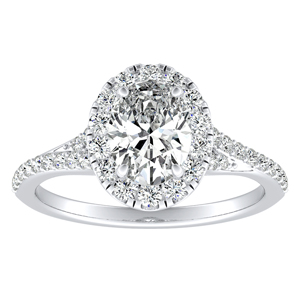 KHLOE Halo Diamond Engagement Ring In 14K White Gold