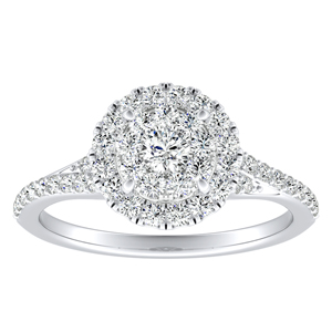 KHLOE Halo Diamond Engagement Ring In 14K White Gold With Round Diamond In H-I SI1-SI2 Quality
