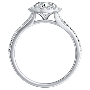 KHLOE Halo Diamond Engagement Ring In 14K White Gold With 0.50ct. Round Diamond