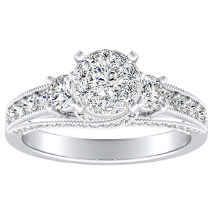 SOPHIE Diamond Engagement Ring In 14K White Gold With Round Diamond In H-I SI1-SI2 Quality