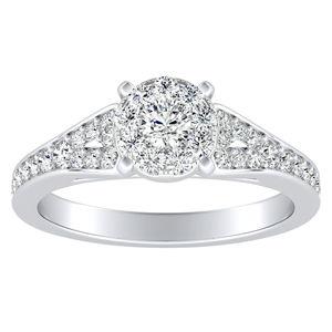 ANNE Diamond Engagement Ring In 14K White Gold With Round Diamond In H-I SI1-SI2 Quality