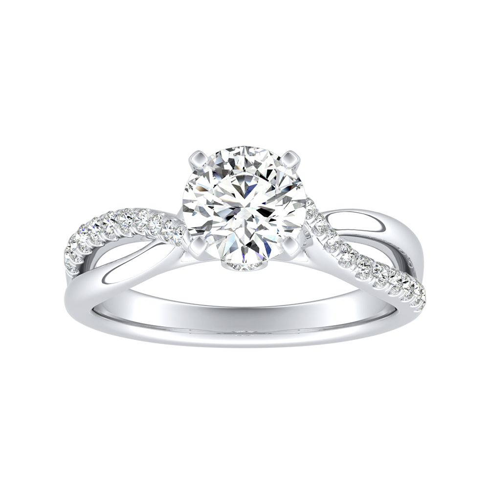 BELLA Twisted Diamond Engagement Ring In 14K White Gold