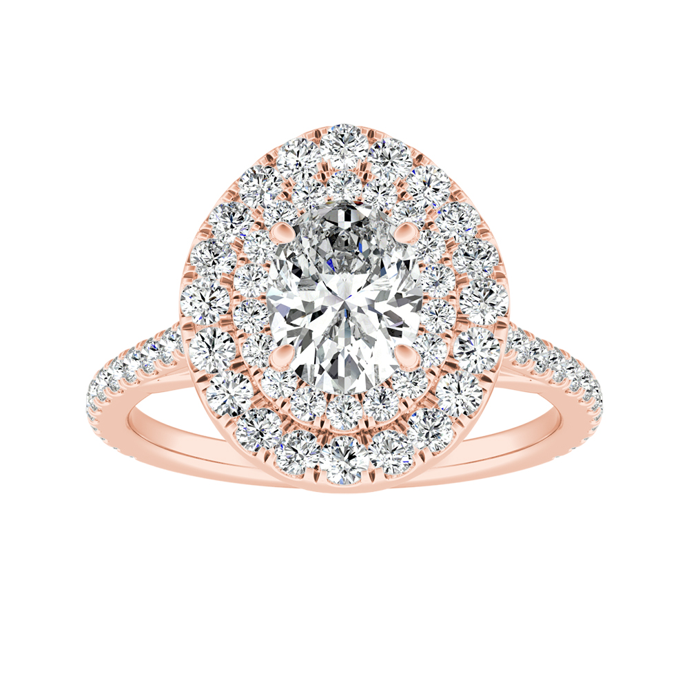 VIVIAN Double Halo Diamond Engagement Ring In 14K Rose Gold
