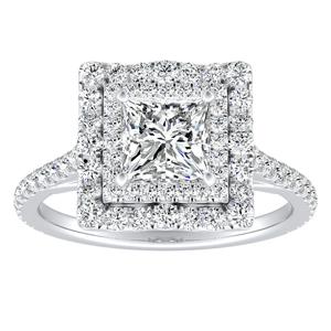 VIVIAN Double Halo Diamond Engagement Ring In 14K White Gold