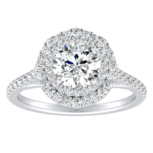 VIVIAN Double Halo Diamond Engagement Ring In 14K White Gold With 0.50ct. Round Diamond